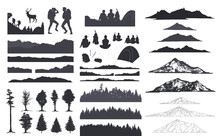 Forest Silhouette, Camping Art, Sketch Mountain, Vector Illustration.
