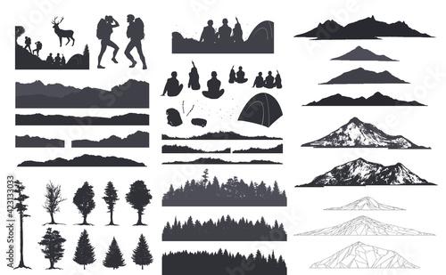 Obraz na plátně Forest silhouette, camping art, sketch mountain, vector illustration