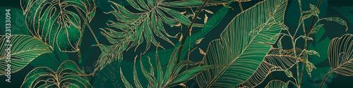 Fototapeta Palm leaves, gold, black, white marble template, artistic covers design, colorful texture, modern backgrounds. Minim pattern, graphic brochure. Luxury illustration obraz