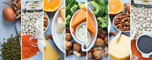 Collage Of Calcium Rich Foods For Healthy Diet Eating