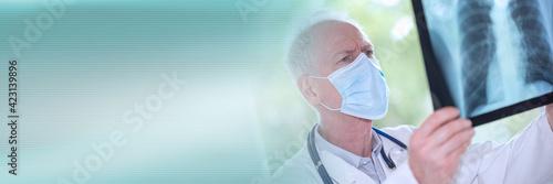 Fototapeta Doctor examining lungs x-ray during coronavirus outbreak; panoramic banner obraz
