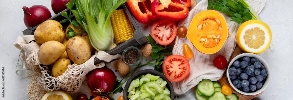 Obraz Selection of fresh raw vegetables, fruits and beans on light gray background. fototapeta, plakat