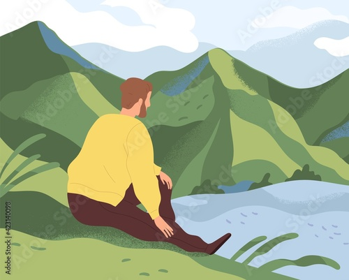 Man resting in nature alone. Thoughtful person sitting on river bank, looking at water and thinking about life in loneliness and calmness. Colored flat vector illustration of guy relaxing in solitude