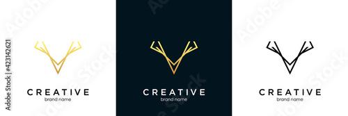 Deer antler logo and icon design vector. Fototapet