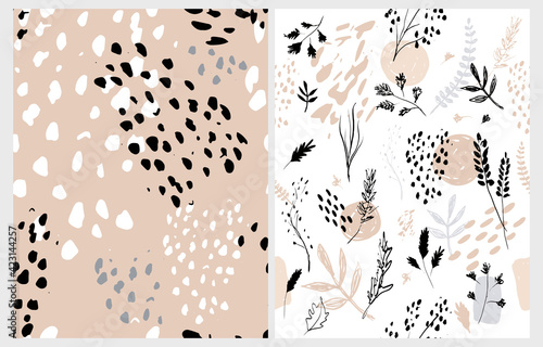 Photo Hand Drawn Irregular Floral Vector Patterns with White Sketched Twigs and Flowers Isolated on a White and Blush Brown Background
