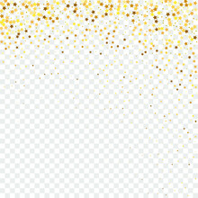 Star Sequin Confetti On Transparent Background. Voucher Gift Card Template. Christmas Party Frame. Vector Gold Glitter. Falling Particles On Floor. Isolated Flat Birthday Card. Golden Stars Banner.