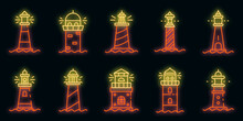 Lighthouse Icons Set. Outline Set Of Lighthouse Vector Icons Neon Color On Black