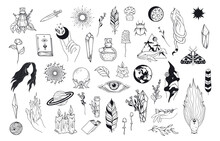 Big Witchcraft Set With Celestial Hands, Witch Elements, Evil Eye, Feathers, Candles, Mushrooms, Crystals. Vector Isolated Mystical Illustration.