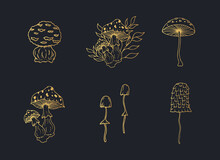 Set Of Gold Mushrooms For Witchcraft. Vector Isolated Illustration With Golden Fungies For Poison.