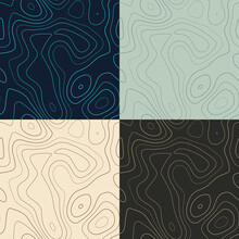 Topography Patterns. Seamless Elevation Map Tiles. Beautiful Isoline Background. Authentic Tileable Patterns. Vector Illustration.
