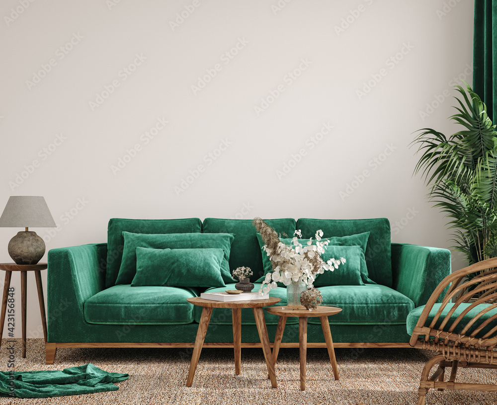 Fototapeta Modern interior background, wall mock up, 3d render