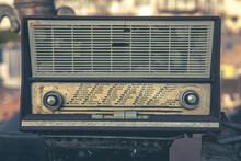 Close Up Old Transistor Radio In Vintage Style.