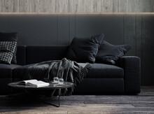 Home Interior, Luxury Modern Dark Living Room Interior, 3d Render