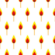 Seamless Pattern Of Burning Matches On A White Background. Flat Colorful Vector Illustrations, Isolated. Cartoon Fashion Illustration. Perfect For Printing On The Fabric, Cards, Banners, Danger Signs.