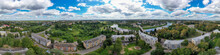 Rzhev, Russia. Panorama 360 Of The City Center. Aerial View Of The Volga And The Embankment
