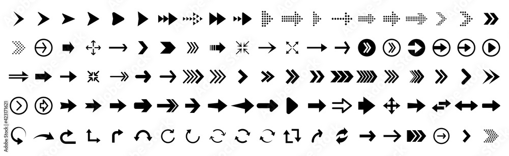 Fototapeta Black vector arrows collection. Arrow. Cursor. Arrow vector icon. Modern simple arrows. Collection different Arrows on flat style for web design or interface. Direction symbols - vector illustration