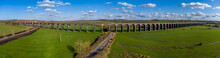 A Panorama Aerial View Of The 82 Arches Of The Welland Valley Viaduct On A Bright Sunny Spring Day In The UK