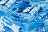 oil paint brush strokes on paper. blue and white