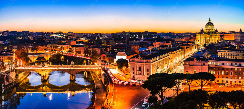 Fototapeta Night view of St. Peter's Basilica and the Tiber river in Vatican City, Rome, Italy