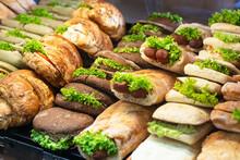 Burgers, Sandwich And Hotdogs On Showcase