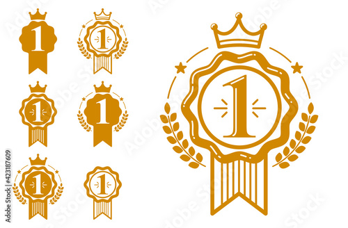 First place vector badge awards set, graphic design geometric simple emblem stickers number one collection, business success and victory theme labels, classical style icons Fototapete