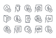 Smart House Remote Control Line Icon Set. Smart Home Network System And Management Linear Icons. Indoor Sensor And Wireless Technology Outline Vector Sign Collection.