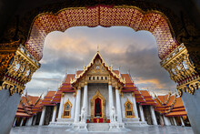 Wat Benchamabophit (a.k.a.  The Marble Temple) In Bangkok, Thailand