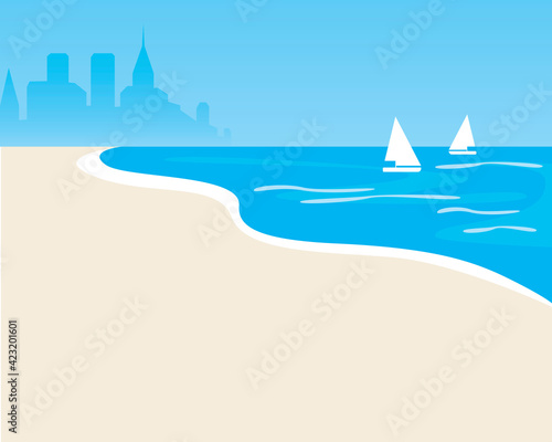 Sea as a template for copy space, flat vector stock illusyutazria with palms on the beach, sea, ocean with city Wall mural