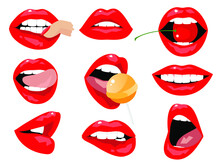 Beautiful Sexy Red Female Lips And White Teeth. Emotions, Smile, Tongue, Candy, Passion, Cherry, Berry, Lipstick. Set Of Isolated Vector Illustrations