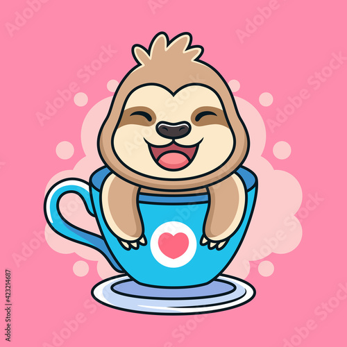 Fototapeta premium Funny Sloth with Sweet Smile on Cup. Animal Vector Icon Illustration, Isolated on Premium Vector.