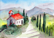 Watercolor Illustration Of A Tuscan Landscape With Distant Mountains, A Country Road Leading To A Small Chapel  Surrounded By Cypress Trees