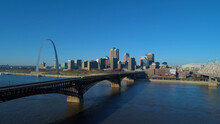 St. Louis Skyline With Arch And Eads Bridge Over Mississippi