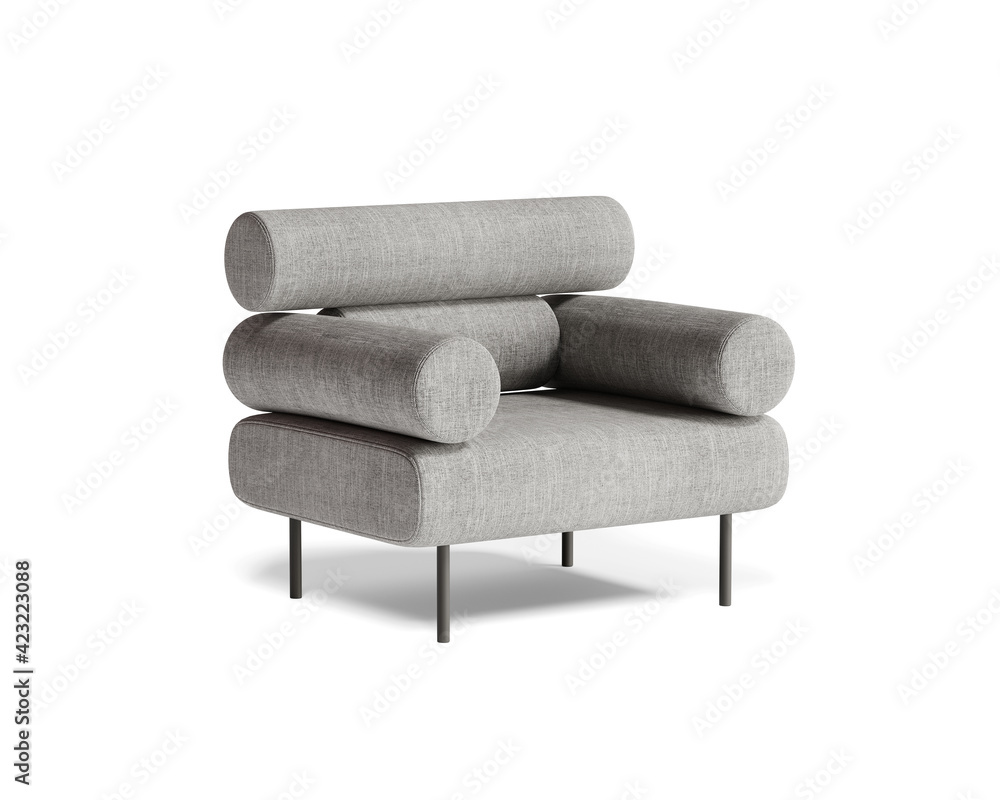 Fototapeta 3d rendering of an isolated modern grey mid century lounge armchair