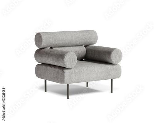 Obraz 3d rendering of an isolated modern grey mid century lounge armchair  - fototapety do salonu