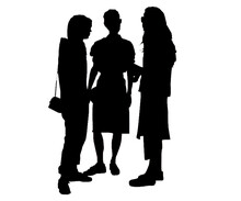 Silhouettes Of People Three Women Talking To Each Other