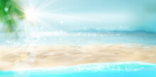 Waves On The Seashore. Empty Sandy Beach In Summer. Sunrise Over The Sea. Vector Illustration.