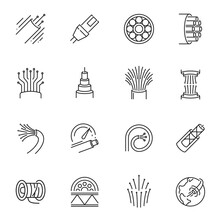Fibre Cable Thin Line Icons Set Isolated On White. Electrical Wires Pictograms Collection.