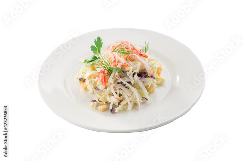 Valokuva Seafood salad with crab and cabbage isolated on white background