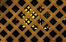 Abstract Filtered Gold Colored Lattice See Through Pattern