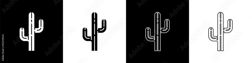 Fototapeta Set Cactus icon isolated on black and white background. Vector