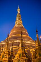Evening Scene At The Shwedagon Pagoda In Yangon, Burma (Myanmar)
