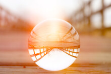 A Crystal Ball For Optical Illusion. Nature View Through A Crystal Ball. Nature Concept.