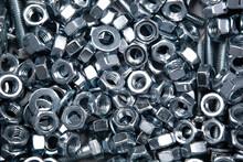 Nuts Screws Fastening Materials A Lot Closeup