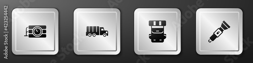 Fototapeta Set Dynamite and timer clock, Military truck, Hiking backpack and Flashlight icon