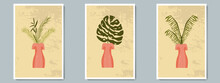 Hand Draw Unusual Woman Figure Pottery Vase With Tropical Plants. Trendy Collage For Decoration In Greek Style.