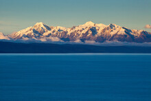 The Cordillera Real Mountain Range As Seen From Lake Titicaca, B