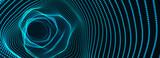 Fototapeta Fototapety przestrzenne i panoramiczne - Abstract tunnel. 3D wormhole or vortex. Grid. 3d rendering