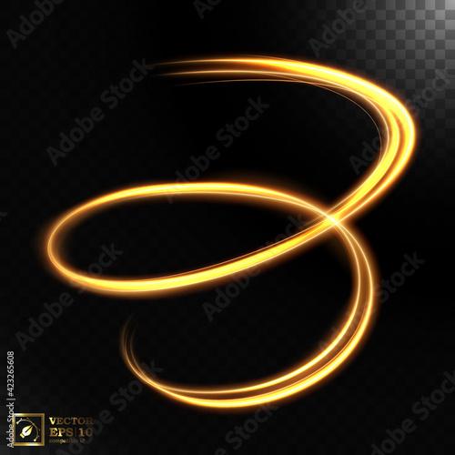 Fototapety, obrazy: Abstract light speed motion effect, gold light trail. Vector Illustration