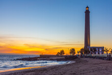 Sunset View Of Maspalomas Lighthouse At Gran Canaria, Canary Islands, Spain