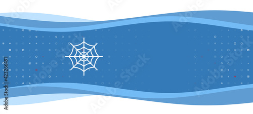 Canvas Print Blue wavy banner with a white spider web symbol on the left